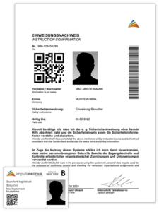 Beispiele für Ausweiskarte und Papierzertifikat